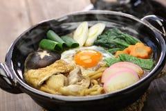 Суп лапши udon nikomi мисо, японская еда Стоковые Изображения