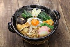 Суп лапши udon nikomi мисо, японская еда Стоковая Фотография