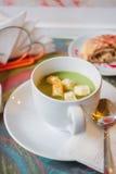 Суп брокколи cream с гренками Стоковое Изображение RF
