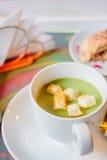 Суп брокколи cream с гренками Стоковое фото RF