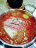 Суп говядины Yukgaejang очень вкусной корейской еды пряный, корейская кухня стоковые фото