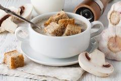 Суп гриба в белом баке, на салфетке, на деревянной предпосылке Стоковое Изображение RF