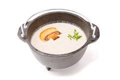 Суп гриба в зверском деревенском черном баке металла на белизне Стоковое фото RF