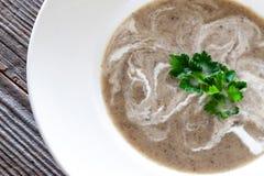 Суп гриба - помятые champignons, картошки, луки и кокос стоковые изображения rf
