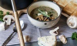 Суп гриба с голубым сыром и свежей петрушкой Стоковые Изображения