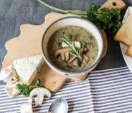 Суп гриба с голубым сыром и свежей петрушкой Стоковые Фотографии RF