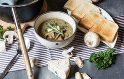 Суп гриба с голубым сыром и свежей петрушкой Стоковые Фото