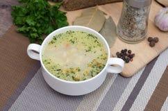 Суп гриба с гренками в белом блюде на деревянном столе Стоковое Фото
