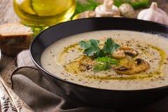 Суп гриба cream на деревенской предпосылке Стоковое Фото
