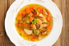 Суп гриба Porcini с картошкой и морковью в белой плите на w Стоковая Фотография