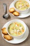 Суп густого супа цыпленка и картошки Стоковое Изображение