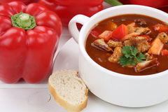 Суп гуляша с мясом и паприкой в крупном плане чашки Стоковые Изображения