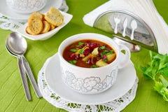 суп еды фасоли греческий традиционный Деревенская домашняя кухня стоковые фотографии rf