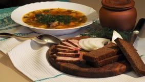 Суп и бекон капусты Стоковые Фотографии RF