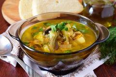 Суп картошки с морской водорослью, морковами и луками, оливковым маслом стоковое изображение rf
