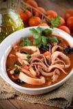Суп кальмара в шаре Стоковые Фотографии RF