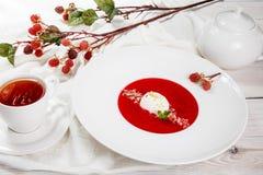 Суп клубники с мороженым и мятой стоковая фотография rf