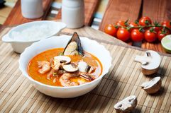 Суп креветки Shimp Tom Yum, тайская кухня стоковое фото