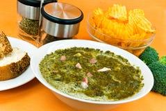 Суп лакомки Cream с зеленой капустой и ломтиками o Стоковая Фотография
