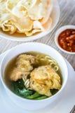 Суп лапши с зажаренными вареником и овощами Стоковые Фото