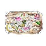 Суп лапши Udon морепродуктов, популярное японское блюдо, с креветкой, мя иллюстрация вектора