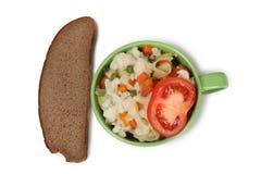 Суп на предпосылке плиты Стоковое Изображение RF