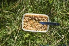 Суп немедленной лапши лежа на траве готовой для еды Стоковые Фотографии RF