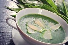 Суп одичалого чеснока с пармезаном стоковые фото
