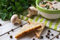 Суп пюра гриба с allspice, петрушкой, champignons и toas Стоковое Фото