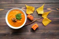 Суп пюра тыквы Стоковые Изображения