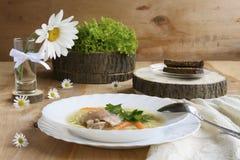 суп плиты цыпленка Стоковое Изображение