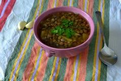 суп середины чечевицы восточной еды ливанский Стоковое фото RF