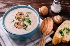 Суп сливк гриба Champignon Стоковая Фотография
