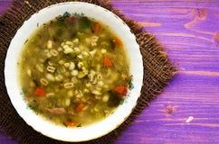 Суп соленья Здоровый суп взгляд сверху супа Стоковая Фотография