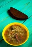 Суп соленья Здоровый суп взгляд сверху супа Стоковое Изображение