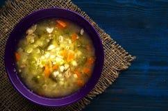 Суп соленья Здоровый суп взгляд сверху супа Стоковые Фотографии RF