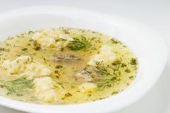 Суп с лапшами и мясом в белой плите Стоковые Фотографии RF