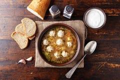 Суп с взгляд сверху фрикаделек Стоковое Изображение RF