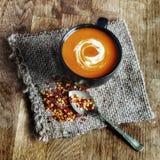 Суп с винтажными хлопьями ложки и чилей стоковая фотография rf