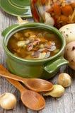 Суп с грибами лисички Стоковая Фотография RF
