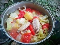 Суп томата картошки цыпленка с травой призвания Таиланда Стоковая Фотография RF