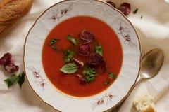 Суп томата с петрушкой и сосиской Стоковое Изображение