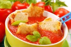 Суп томата cream с гренками Стоковые Изображения RF