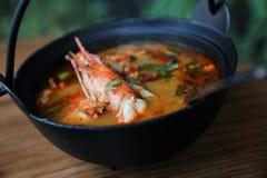 Суп Том yum, Том yum с креветкой, Тайской кухней стоковое фото rf
