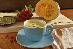 Суп тыквы в голубом шаре Стоковые Фотографии RF