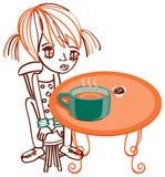 суп тыквы девушки способа чашки chokolate конфеты Стоковое Изображение