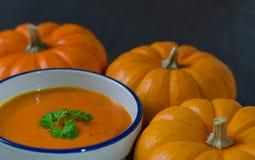Суп тыквы и строка pumkins Стоковая Фотография