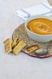 Суп тыквы с гренками. Стоковое Изображение