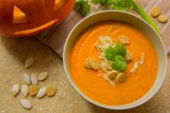 Суп тыквы с croutons стоковое изображение rf