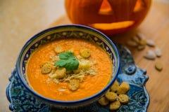 Суп тыквы с croutons Стоковая Фотография
